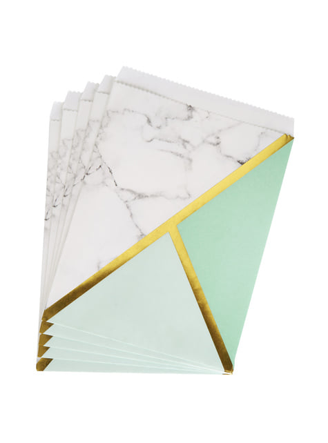 Set of 25 Paper Party Bags with Mint Green Geometric Print - Colour Block Marble