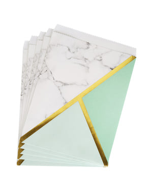 25 Paper Party Bags with Mint Green Geometric Print - Colour Block Marble