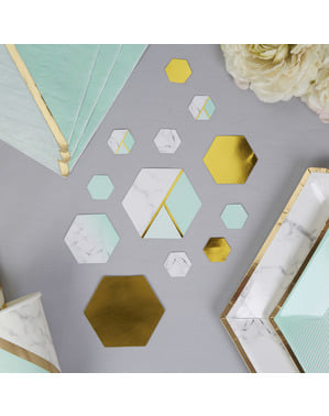 Tafel confetti met geometrisch mintgroen patroon - Marmer Kleuren Blok