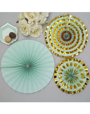 3 Leques de papel decorativos variado (21-26-30 cm) - Colour Block Marble