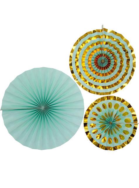 3 Abanicos de papel decorativos variados (21-26-30 cm) - Colour Block Marble