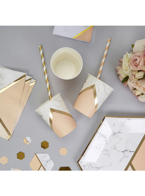 8 paper cups with geometric peach pattern - Colour Block Marble