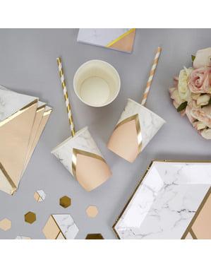 8 bicchieri con stampa geometrica pesca di carta - Colour Block Marble