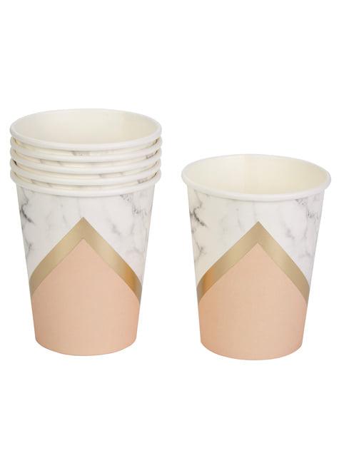 8 vasos estampado geométrico melocotón de papel - Colour Block Marble - para tus fiestas