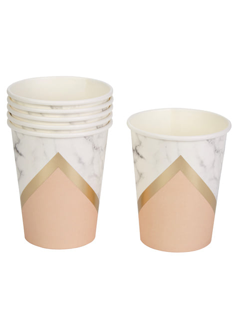 Set of 8 paper cups with geometric peach pattern - Colour Block Marble