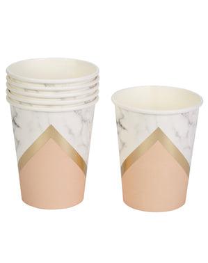 Pappbecher Set 8-teilig mit Geometrischen Formen pfirsichfarben - Colour Block Marble