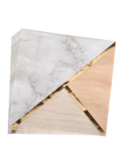 16 servilletas estampado geométrico melocotón de papel (33x33 cm) - Colour Block Marble