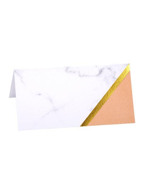 10 cartes porte-noms table motifs géométrique couleur pêche - Colour Block Marble