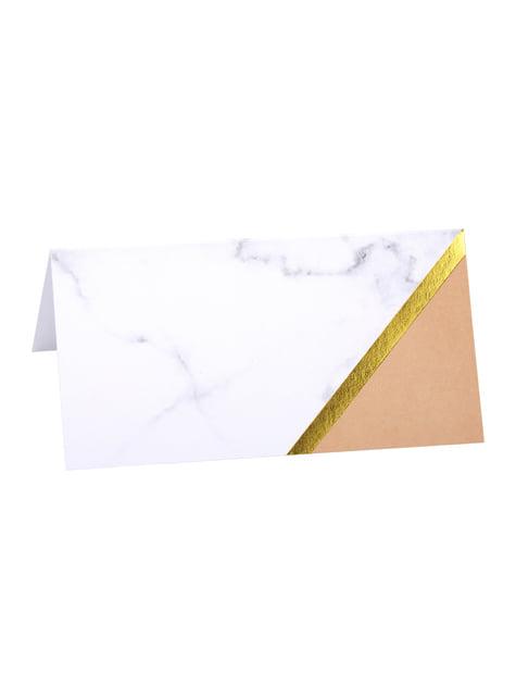 10 pöytäkattauskorttia geometrisellä persikanvärisellä kuviolla – Colour Block Marble