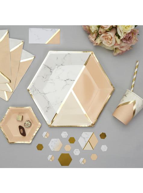 Set of 8 big hexagonal paper plates in geometric peach pattern - Colour Block Marble