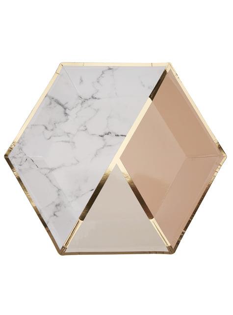 8 platos hexagonales estampado geométrico melocotón de papel (27 cm) - Colour Block Marble - para tus fiestas