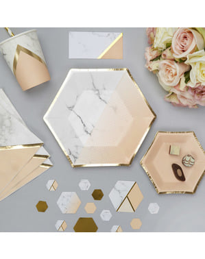 8 medium hexagonal paper plates with geometric peach patter (20 cm) - Colour Block Marble