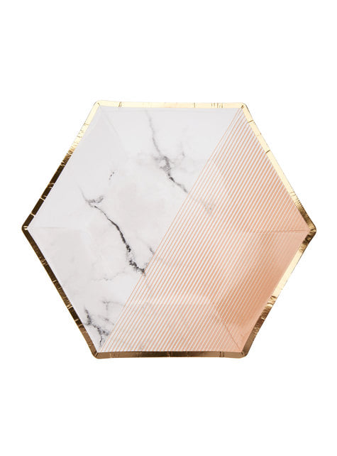 Set of 8 medium hexagonal paper plates with geometric peach pattern -  - Colour Block Marble
