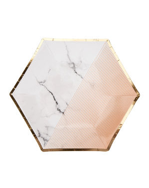 8 medium hexagonal paper plates with geometric peach patter (20 cm) - Colour Block Marble