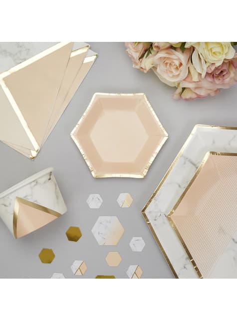8 pratos pequenos hexagonais cor de pêsseg (12,5 cm) - Colour Block Marble