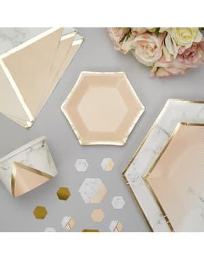 8 small hexagonal peach paper plate (12,5 cm) - Colour Block Marble