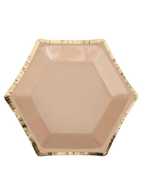 Set of 8 small hexagonal peach paper plates - Colour Block Marble
