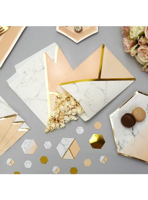 25 bolsitas de papel estampado geométrico melocotón - Colour Block Marble
