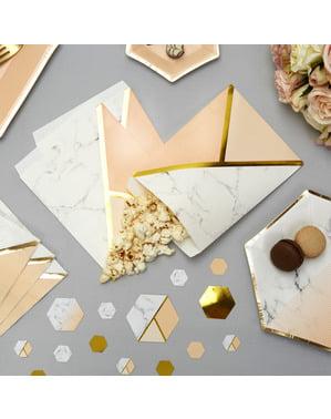 25 papieren feesttasjes met geometrische perzik print - Marmer Kleuren Blok