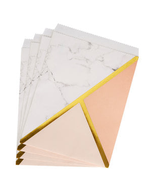 25 Paper Party Bags with Peach Geometric Print - Colour Block Marble