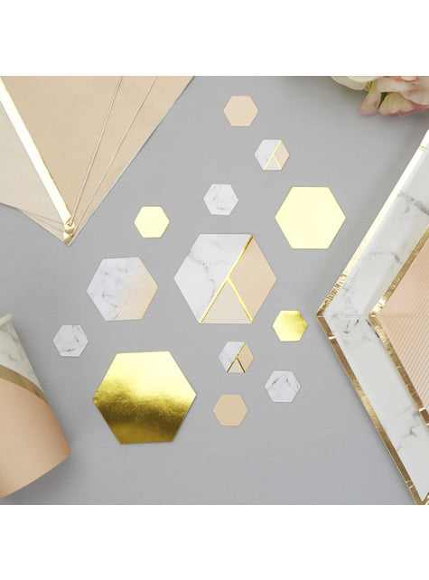 Table confetti with geometric peach pattern - Colour Block Marble