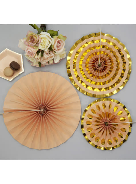Set of 3 decorative paper fans in  gold - Colour Block Marble
