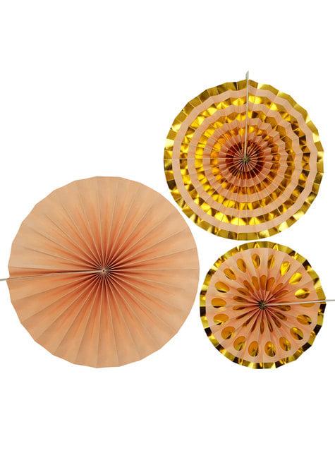 3 Abanicos de papel decorativos dorados (21-26-30 cm) - Colour Block Marble - para tus fiestas