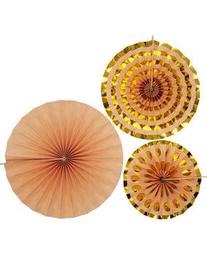 3 Abanicos de papel decorativos dorados (21-26-30 cm) - Colour Block Marble