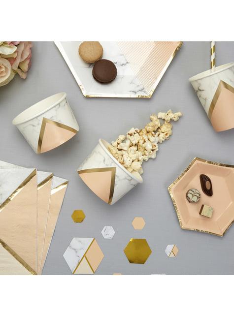 8 tarrinas estampado geométrico melocotón de papel - Colour Block Marble