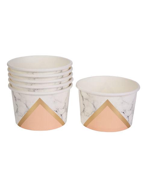 8 tarrinas estampado geométrico melocotón de papel - Colour Block Marble - para tus fiestas