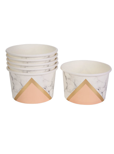 Set of 8 paper tubs with geometric peach pattern - Colour Block Marble
