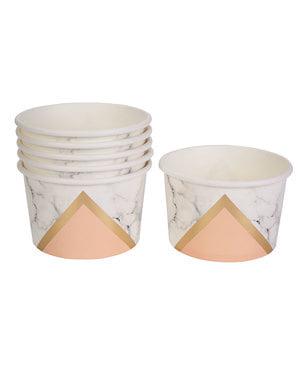 8 småskålar geometriskt tryck persikofärgade i papp - Colour Block Marble