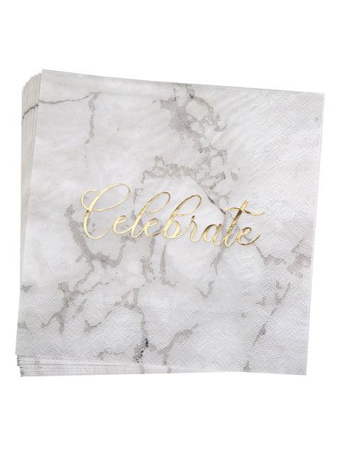 16 servilletas de papel (33x33 cm) - Scripted Marble - para tus fiestas