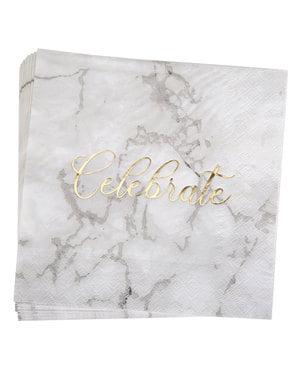 Sæt med 16 papirservietter - Scripted Marble