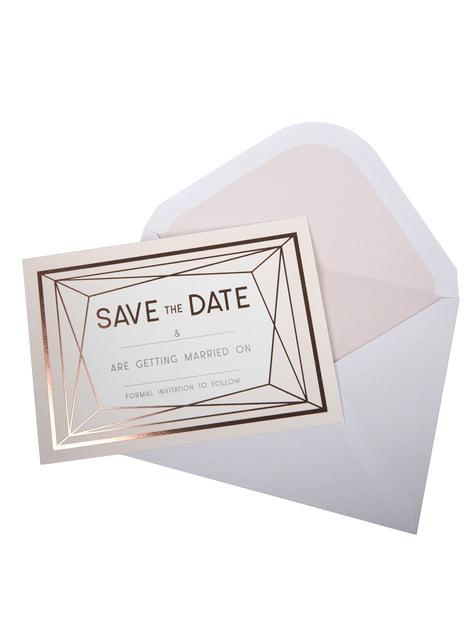 10 invitaciones en oro rosa de papel - Geo Blush