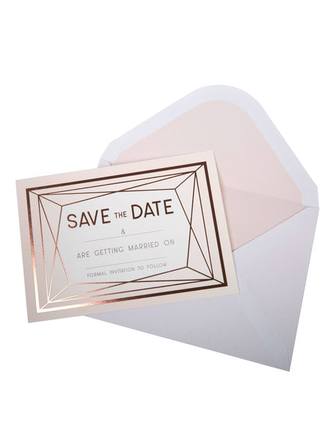 10 invitations rose gold en carton - Geo Blush