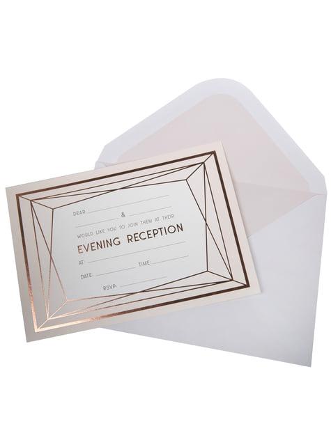 10 paperista kutsukorttia iltapäivän häihin ruusukultaisina – Geo Blush