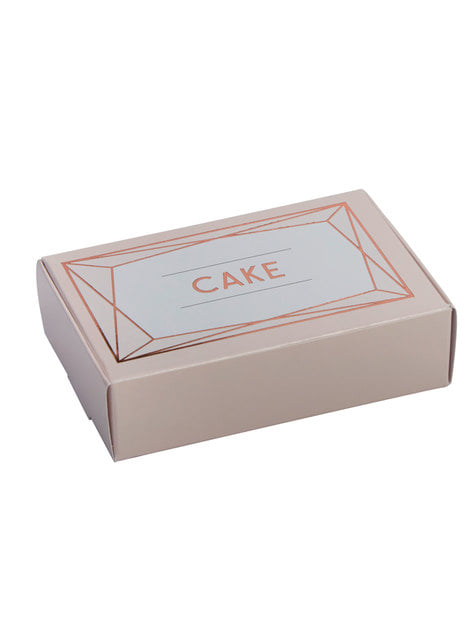 10 cajitas para tarta en oro rosa de papel - Geo Blush
