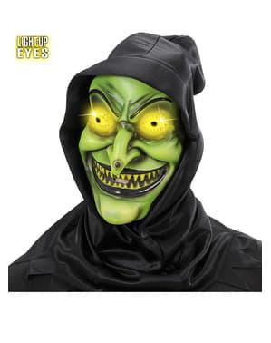 Čarodějnicka maska s kápí a svítícíma očima