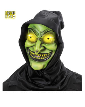 Witch mask with hood and luminous eyes