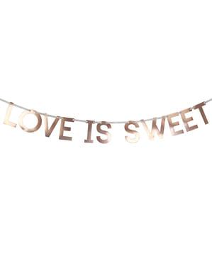 "Paperinen ""Love is sweet"" seppele ruusukultaisena – Geo Blush"