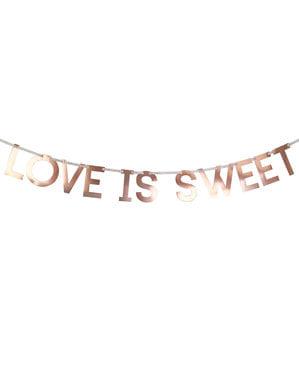 "Papierowa girlanda ""Love is sweet"" rose gold – Geo Blush"
