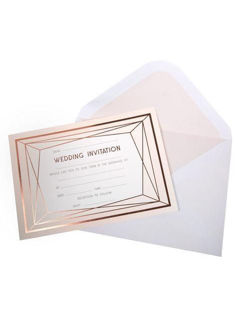 10 faire-part de mariage rose gold en carton - Geo Blush