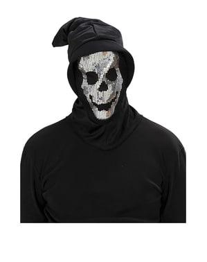 Máscara de calavera de lentejuelas con capucha