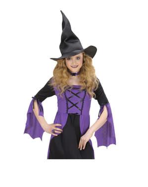 Chapéu de bruxa flexível para menina