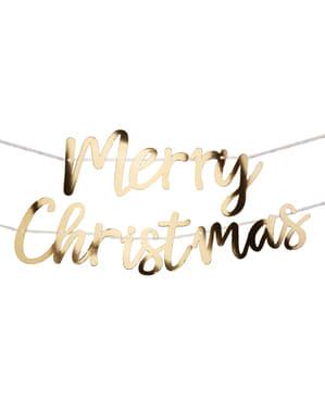 Merry Christmas guirlande i guld - Dazzling Christmas