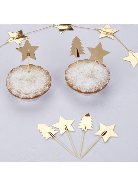 20 toppers decorativos navideños de papel - Dazzling Christmas