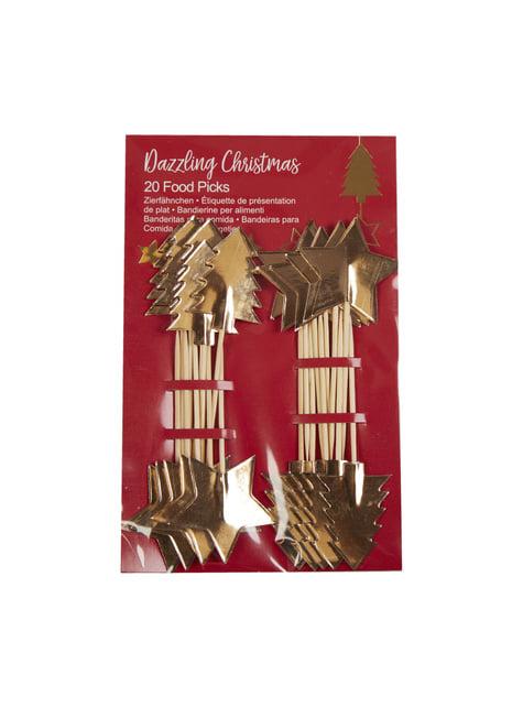 20 toppers decorativos navideños de papel - Dazzling Christmas - para tus fiestas