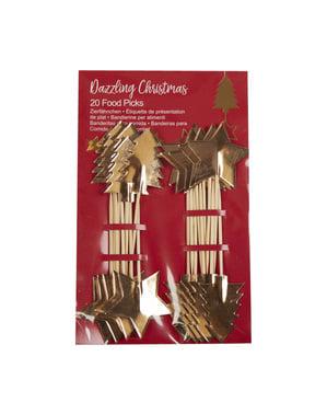 20 dekorationspinnar juliga i papp - Dazzling Christmas