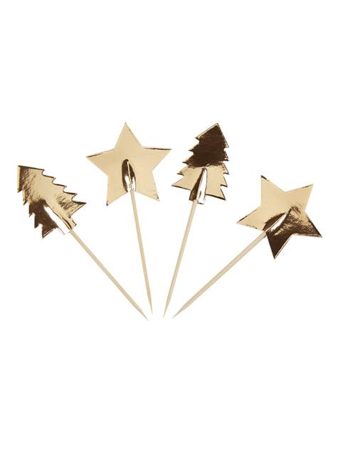 20 toppers decorativos navideños de papel - Dazzling Christmas - barato